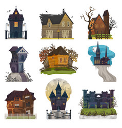 spooky house haunted castle with dark scary vector image