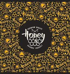 Stock honey frame and label vector image