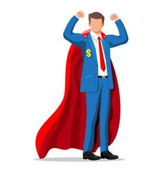 superhero businessman shows muscles vector image
