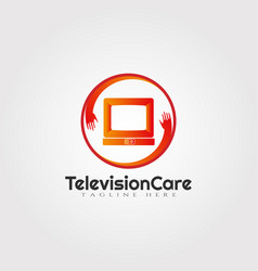 Television care logotechnology icon vector