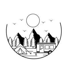 tent camper camping wanderlust image vector image