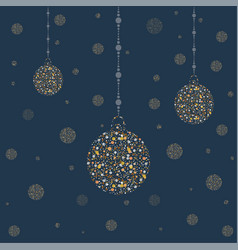 Three new year golden ornaments golden shimmer vector