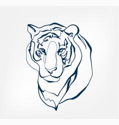 tiger animal wild one line design vector image