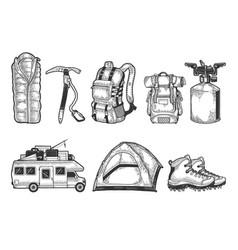 tourist set sketch vector image