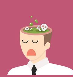 toxic idea in businessman head vector image