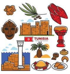 Tunisia travel tourism famous symbols and tourist vector