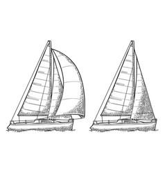 Two sailing yacht sailboat drawn flat vector