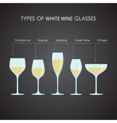 types of white wine glasses vector image