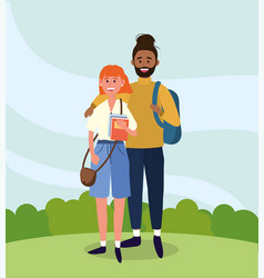 university woman and man couple with books vector image
