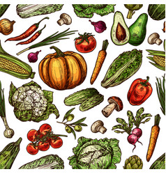 vegetables natural fresh sketch backdrop vector image
