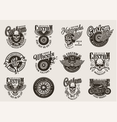 vintage monochrome motorcycle emblems vector image