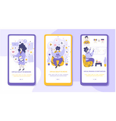 virtual reality flat onboarding mobile app page vector image