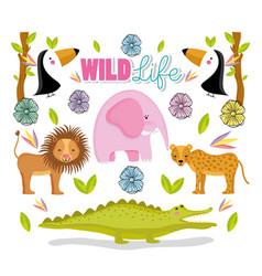 Wildlife cute animals vector