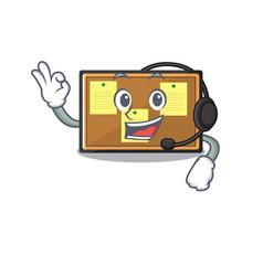 With headphone toy bulletin board on cartoon vector