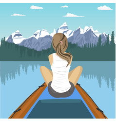 woman traveler floating on boat on mountain lake vector image