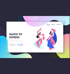 Women girls in arabic dresses and jewelry dancing vector