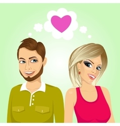 Young happy couple side by side vector