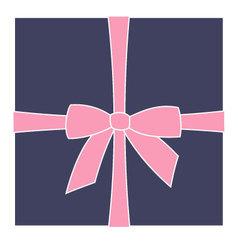 Dark blue box and pink bow vector image vector image