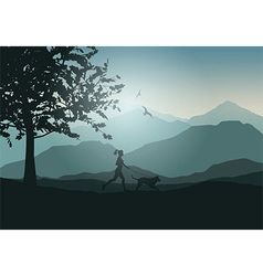 female jogging with dog 2701 vector image