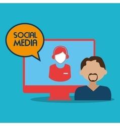 man avatar and social media design vector image vector image