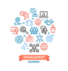 management business color round design template vector image vector image