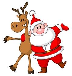 reindeer and santa vector image