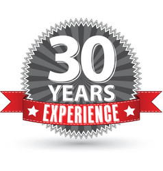 30 years experience retro label with red ribbon vector image vector image