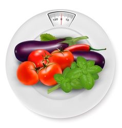 A scale with vegetables Diet concept vector image