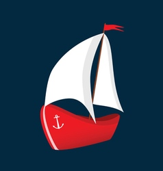 boat red icon vector image