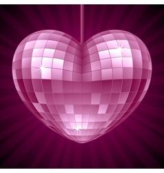 Disco Heart Purple mirror disco ball vector image