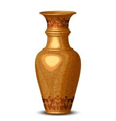 Golden ornate vase vector