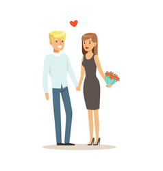 happy couple in love standing and holding hands vector image vector image