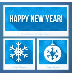 New year symbols in flat style with knitted vector image vector image