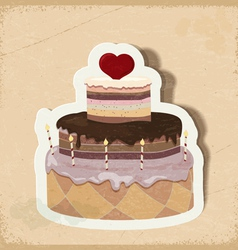 Vintage card with a cake on Valentines Day eps10 vector image