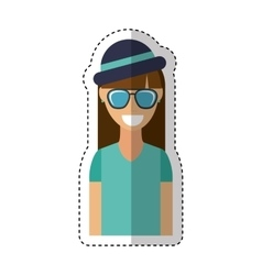 young woman character hipster style vector image