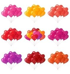 Balloons hearts bunches set vector image vector image