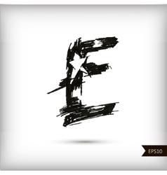 Calligraphic watercolor letter E vector image vector image