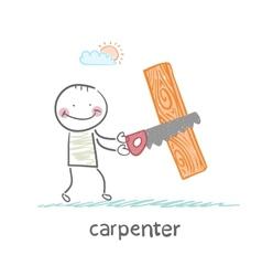 Carpenter sawing a board vector