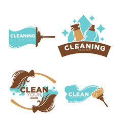 cleaning service logo emblems with equipments set vector image vector image