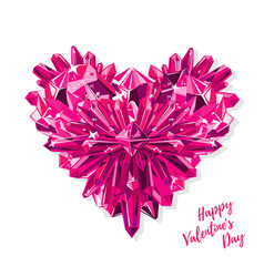 greeting card for valentines day purple heart vector image vector image