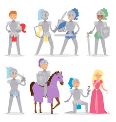 knight cartoon hero character with horse and vector image