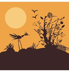 Nature scene at sunset vector image