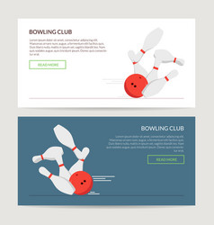 play a bowling set of posters or caps for the site vector image