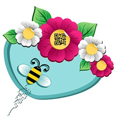 Spring time flower and Bee with qr code vector image vector image