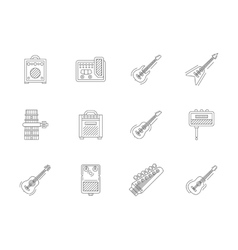 Accessories for guitar flat line icons vector image