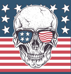 american skull in sunglasses on usa flag vector image