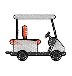 Color crayon stripe cartoon golf cart vehicle vector