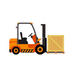 forklift truck with wooden box vector image vector image