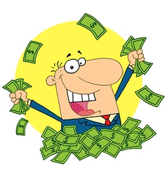 Salesman playing in a pile of money vector image