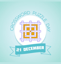 21 december crossword puzzle day vector